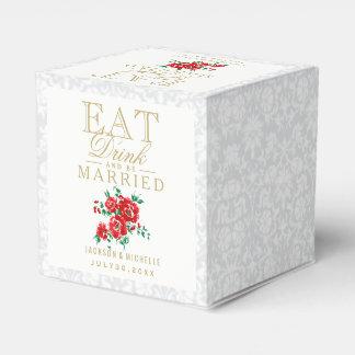 Rot essen, Getränk und sind verheiratete Hochzeit Geschenkkartons
