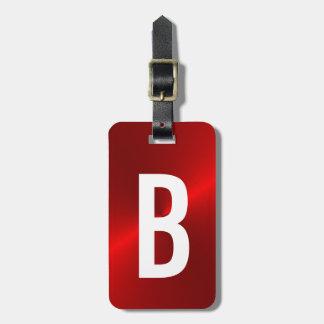 Rot gebürstete metallische Monogramm-Initiale Gepäckanhänger