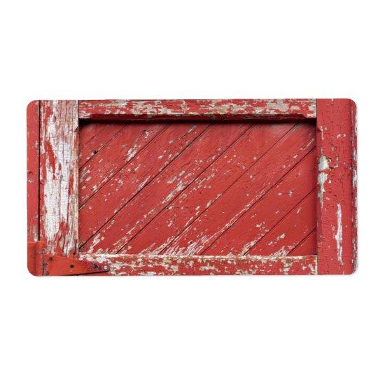 Rot gemalte hölzerne Scheunen-Tür Versandetikett