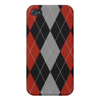 Rot gestrickter Art-Raute Iphone Kasten iPhone 4 Hülle