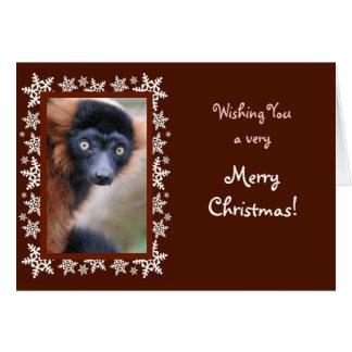 Rot getrumpfte Lemur-Weihnachtskarte Grußkarte