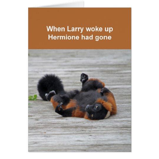 Rot-getrumpfte Lemurkarte Grußkarte
