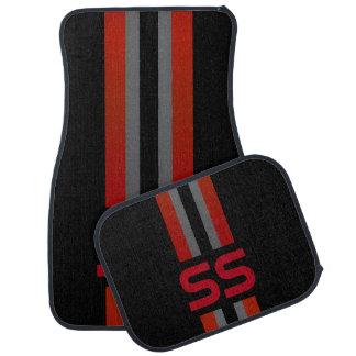 Rot, graues doppeltes Rennen Stripes | Autofußmatte