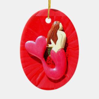 Rot Herz-angebundene Meerjungfrauschönheit Ovales Keramik Ornament