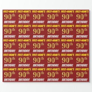 """Rot, Imitat/nachgemachtes Gold, """"90. GEBURTSTAG """" Geschenkpapier"""
