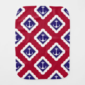 Rot, Marine-Blau, Weiß verankert Seemuster Spucktuch