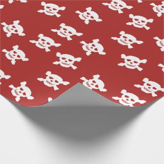 Rot mit dem weißen Totenkopf mit gekreuzter Geschenkpapierrolle