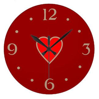 Rot mit hellrotem Herz-Valentinstag-Geschenk Große Wanduhr