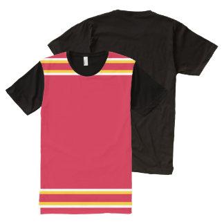 Rot mit Weiß und Goldordnung T-Shirt Mit Komplett Bedruckbarer Vorderseite