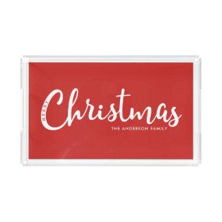 ROT | moderne frohe Weihnachten Acryl Tablett