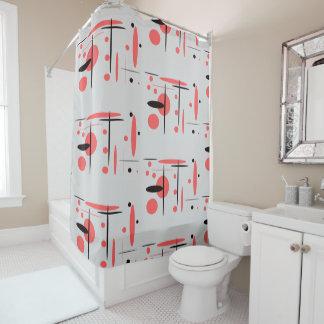 Rot-, Schwarzer u. weißerabstrakter Duschvorhang