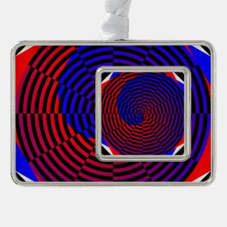 Rot-u. Blau-Spirale Rahmen-Ornament Silber