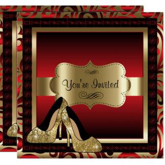 Rot u. Goldhohe Heels-Geburtstags-Einladung Quadratische 13,3 Cm Einladungskarte