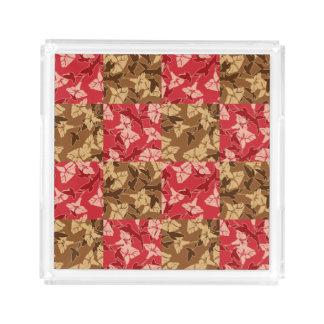 Rot und Brown-Herbstfarben-Herbst-Blumenbehälter Acryl Tablett