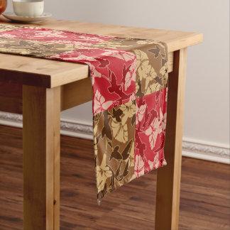 Rot und Brown-Herbstfarben-Herbst-Blumenmuster Kurzer Tischläufer