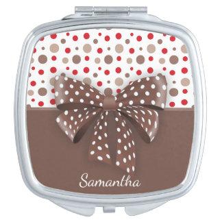 Rot-und Cappuccino-Tupfen und Schokoladen-Band Schminkspiegel