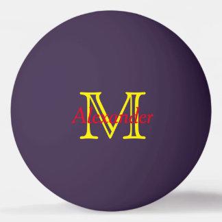 Rot und gelb auf lila Monogramm Tischtennis Ball