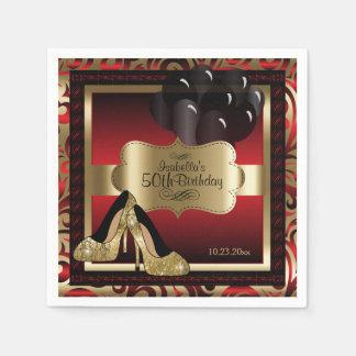 Rot und Gold metallisch - 50. Text des Serviette
