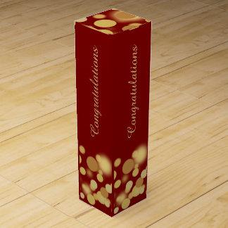 Rot und Goldchampagne-Blasen-personalisierter Wein-Geschenkverpackung