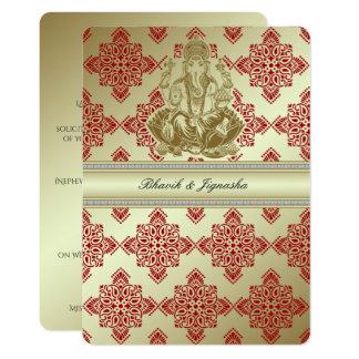 Rot und Goldindische Damast-Hochzeits-Einladung 12,7 X 17,8 Cm Einladungskarte