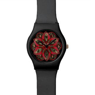 Rot und Goldtierkreis-Zeichen-Widder Uhr