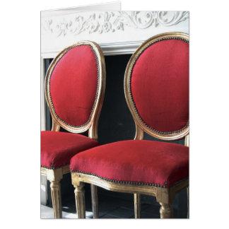Rot und GoldVintager Salon sitzt Gruß-Karte vor Grußkarte