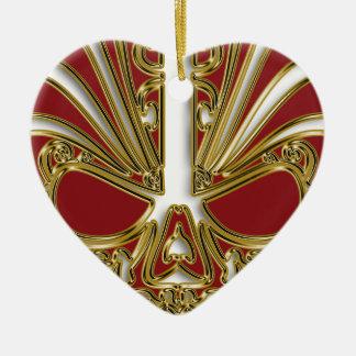 Rot und Goldzuckerschädelschädel Keramik Ornament