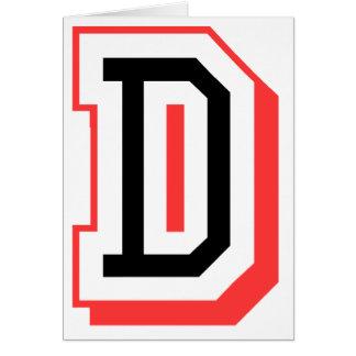 Rot und gotische Schrift D Grußkarte