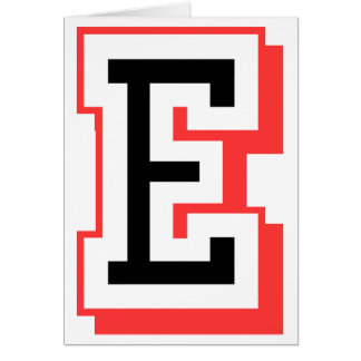 Rot und gotische Schrift E Grußkarte