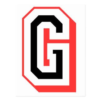 Rot und gotische Schrift G Postkarte