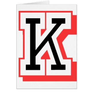 Rot und gotische Schrift K Grußkarte