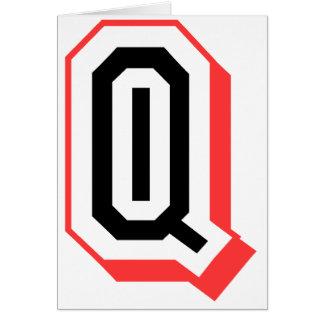 Rot und gotische Schrift Q Grußkarte
