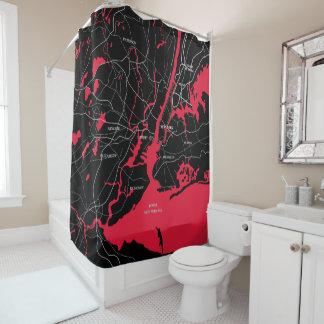 Rot und schwarz, New- Yorkkarte Duschvorhang