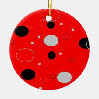 Rot und schwarze Flecken Rundes Keramik Ornament
