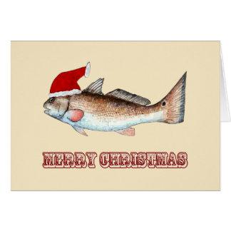 Rotbarsch-Weihnachtsmannmütze-frohe Weihnachten Karte