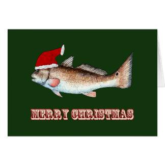 Rotbarsch-Weihnachtsmannmütze-Weihnachten auf Grün Grußkarte