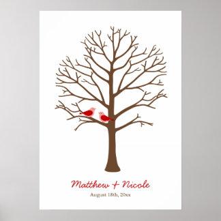 Rotbraune Vogel-Fingerabdruck-Baum-Hochzeit Poster
