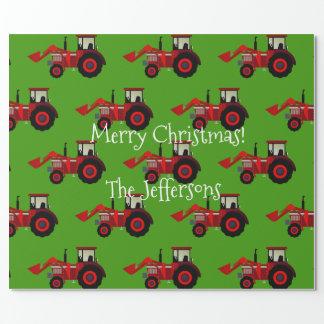 Rote Ackerschlepper auf grünem Weihnachten Geschenkpapier
