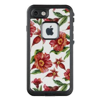 Rote Amaryllis-Blumen-nahtloses Muster LifeProof FRÄ' iPhone 7 Hülle