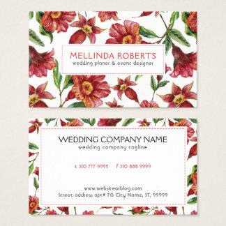 Rote Amaryllis-Blumen-nahtloses Muster Visitenkarte