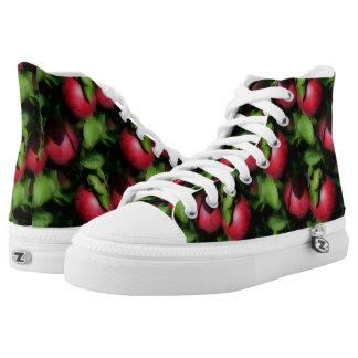 Rote Äpfel auf Baum-Natur-Muster Hoch-geschnittene Sneaker
