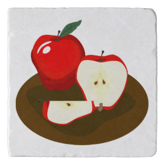 Rote Äpfel MarmorsteinTrivet Töpfeuntersetzer