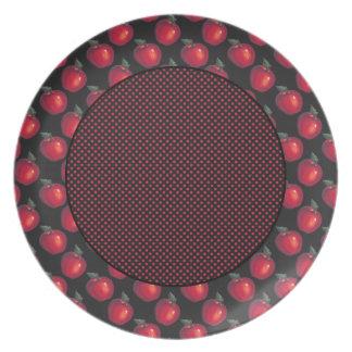 Rote Apfel-Rot-Punkte Melaminteller