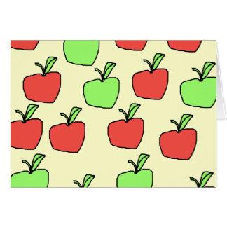 Rote Äpfel und grüne Äpfel, Muster, auf Creme Karte