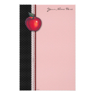 Rote Äpfel weiß auf schwarzen Tupfen Briefpapier