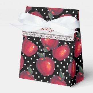 Rote Äpfel weiß auf schwarzen Tupfen Geschenkschachtel