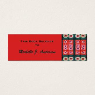 Rote aquamarine Fliesen-Lesezeichen Mini Visitenkarte