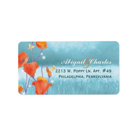Rote aquamarine Mohnblumen-Hochzeits-Adresse Adressaufkleber