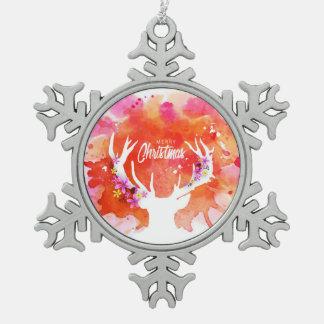 Rote Aquarell-Rotwild-frohe Weihnachten Schneeflocken Zinn-Ornament