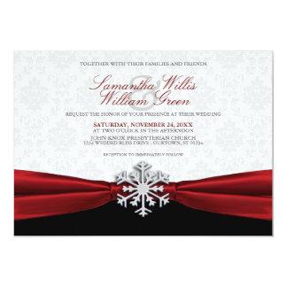 Rote Band-Winter-Hochzeits-Einladung 12,7 X 17,8 Cm Einladungskarte